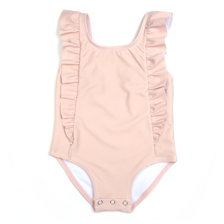 SwimZip Girl Ruffle One Piece Swimsuit in soft pink color  little girl ruffle swimwear