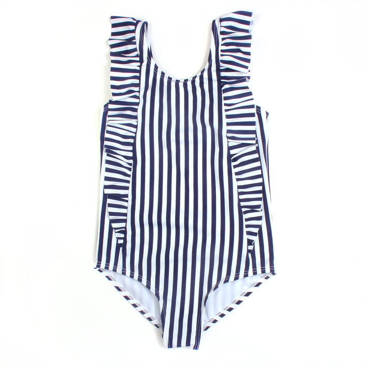 "Girl's ""Too Sweet"" Ruffle One-Piece Swimsuit - ""Mini Navy Stripe"" - SwimZip Sun Protection Swimwear"