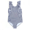 SwimZip Tiny Navy and White stripe swimwear for little girl with ruffle