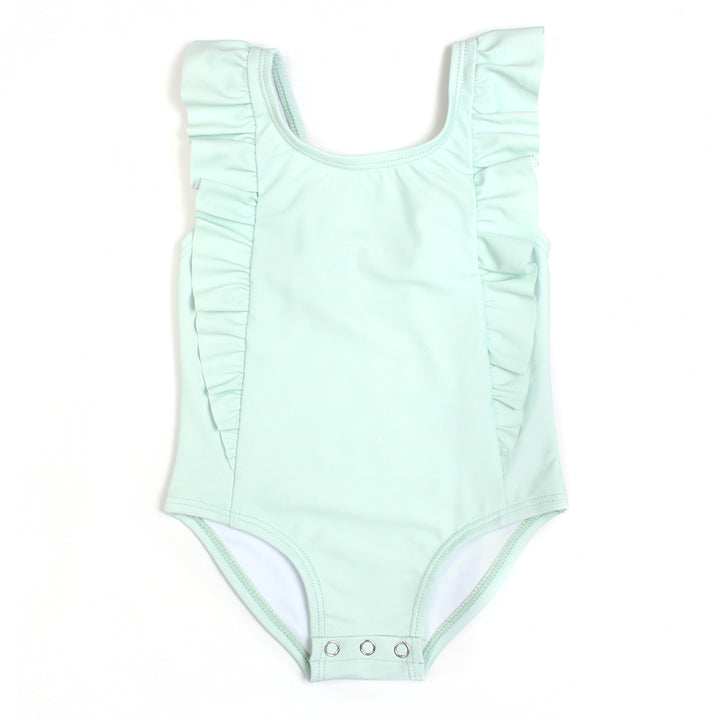 "Girl's ""Too Sweet"" Ruffle One-Piece Swimsuit - ""Whispering Blue"" - SwimZip Sun Protection Swimwear"