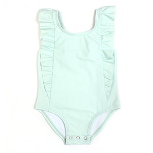 "Girl ""Too Sweet"" Ruffle One-Piece Swimsuit - Multiple Colors - SwimZip Sun Protection Swimwear"
