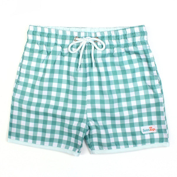"Boy ""Catch a Wave"" Swim Trunks - Multiple Colors-6-12 Month-Green Gingham-SwimZip UPF 50+ Sun Protective Swimwear & UV Zipper Rash Guards-pos1"