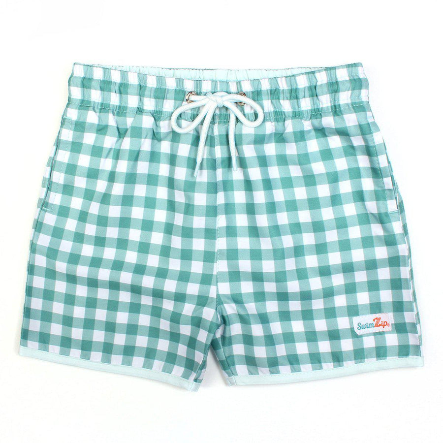 "Boy ""Catch a Wave"" Swim Trunks - Multiple Colors - SwimZip Sun Protection Swimwear"