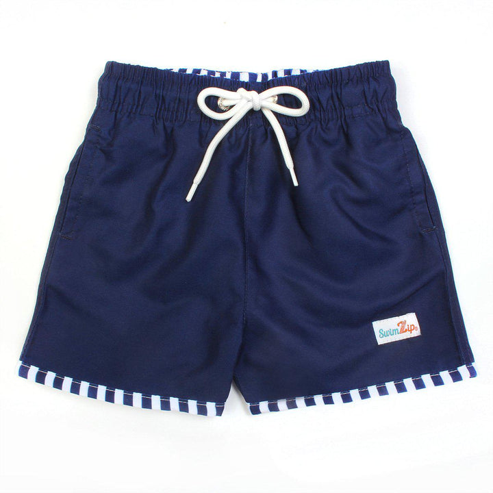 "Boy ""Catch a Wave"" Swim Trunks - Navy - SwimZip Sun Protection Swimwear"