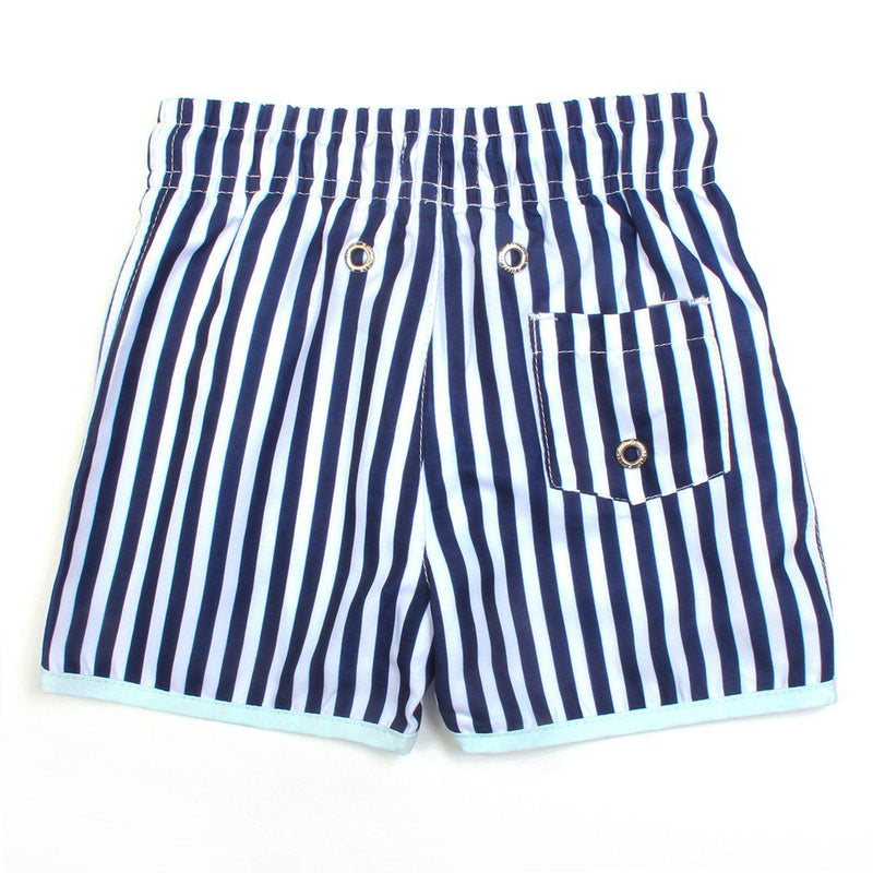 "Boy ""Catch a Wave"" Swim Trunks - Mini Navy Stripe-SwimZip UPF 50+ Sun Protective Swimwear & UV Zipper Rash Guards-pos3"