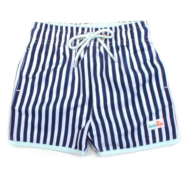 "Boy ""Catch a Wave"" Swim Trunks - Mini Navy Stripe - SwimZip Sun Protection Swimwear"