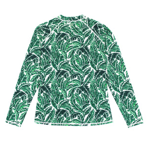 "Women's Long Sleeve Rash Guard with Pockets UPF 50 + | ""Palm Leaf"" - SwimZip Sun Protection Swimwear"