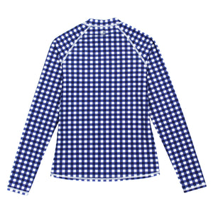 "Women's Long Sleeve Rash Guard with Pockets - ""Navy Gingham"" - SwimZip Sun Protection Swimwear"