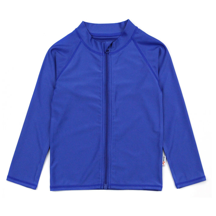 Kid's Long Sleeve Rash Guard Zipper Swim Shirt - Amparo Blue