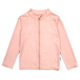 Unisex Long Sleeve Rash Guard Zipper UPF 50+ Swim Shirt | Peach Melba-6-12 Month-Peach-SwimZip UPF 50+ Sun Protective Swimwear & UV Zipper Rash Guards-pos1
