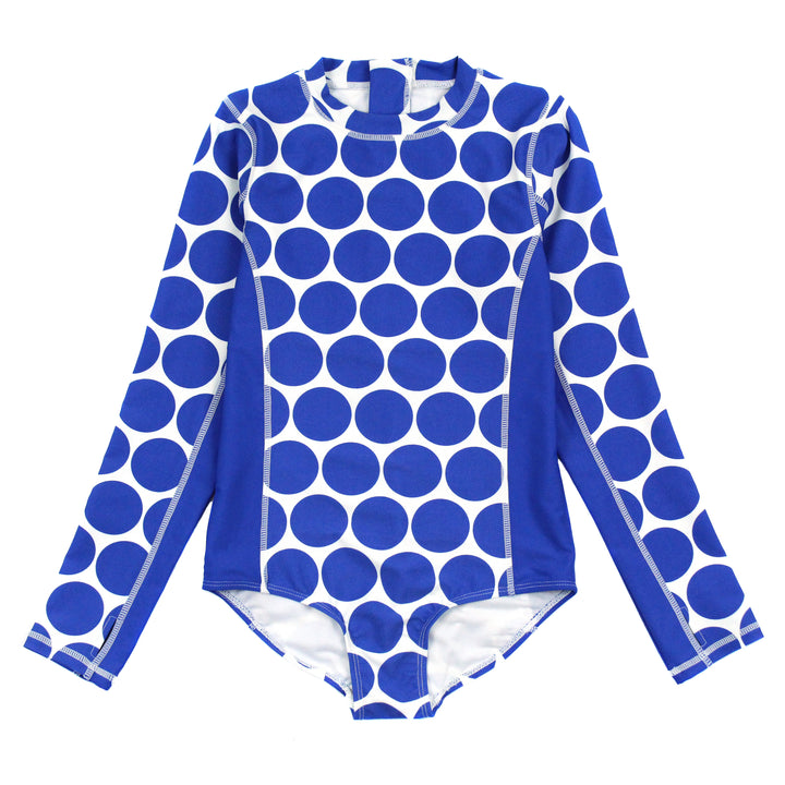 "Girl Long Sleeve Surf Suit (1 Piece) | ""Oversized Dot"" - SwimZip Sun Protection Swimwear"