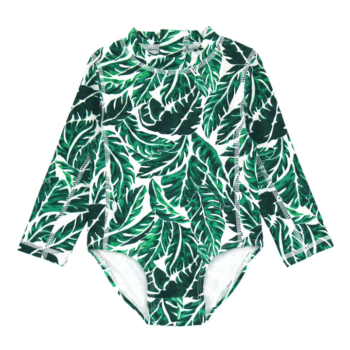 "Girl Long Sleeve Surf Suit (1 Piece) | ""Palm Leaf"" - SwimZip Sun Protection Swimwear"