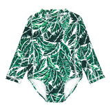 Girl's Long Sleeve Surf Suit (1 Piece) - Multiple Colors-6-12 Month-Palm Leaf-SwimZip UPF 50+ Sun Protective Swimwear & UV Zipper Rash Guards-pos12