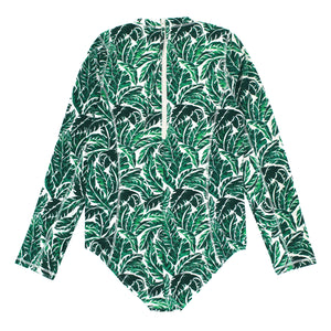 "Women's Long Sleeve Surf Suit (1 Piece Body Suit) - ""Palm Leaf"" - SwimZip Sun Protection Swimwear"