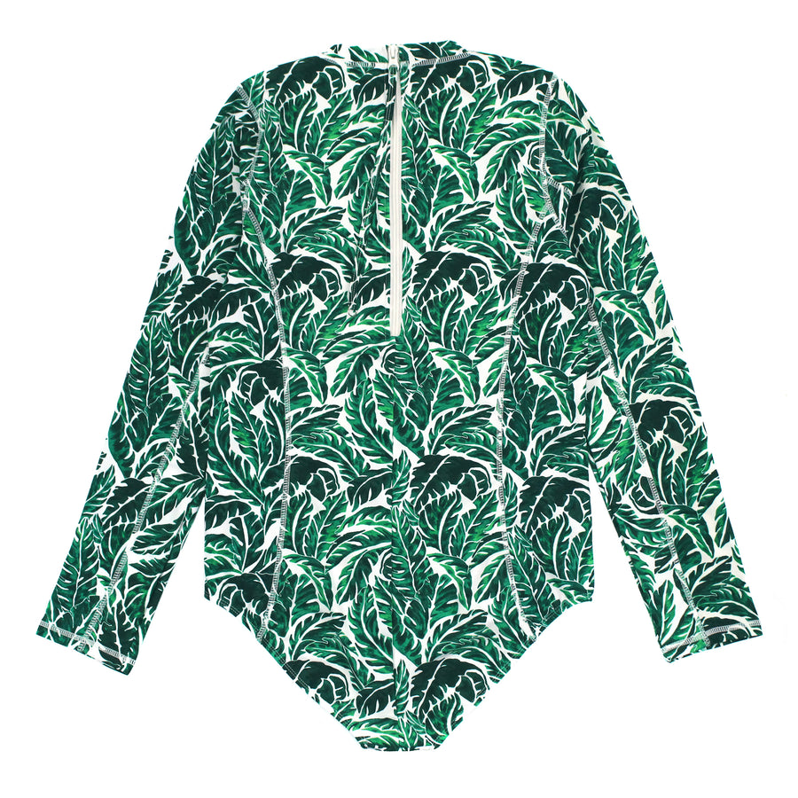 "Women's Long Sleeve Surf Suit (1 Piece Body Suit) - ""Palm Leaf""-SwimZip UPF 50+ Sun Protective Swimwear & UV Zipper Rash Guards-pos3"