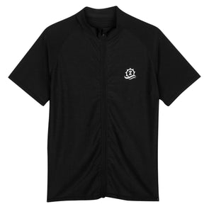"Mens Rash Guard Short Sleeve Swim Shirt - ""Board Master"" Black"