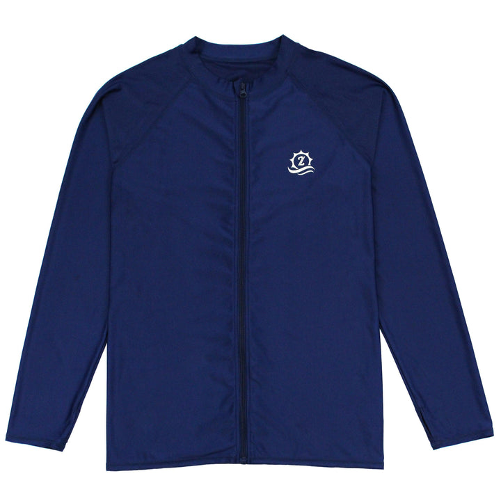 "Mens Rash Guard Long Sleeve Loose fit Swim Shirt - ""Cannonball King"" Navy Blue - SwimZip Sun Protection Swimwear"