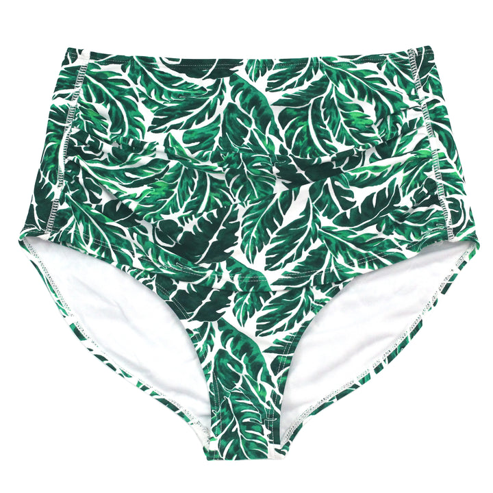 "Women's High Waist Bikini Bottoms - ""Palm Leaf"" - SwimZip Sun Protection Swimwear"