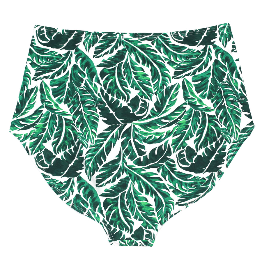 "Women's High Waist Bikini Bottoms - ""Palm Leaf""-SwimZip UPF 50+ Sun Protective Swimwear & UV Zipper Rash Guards-pos3"