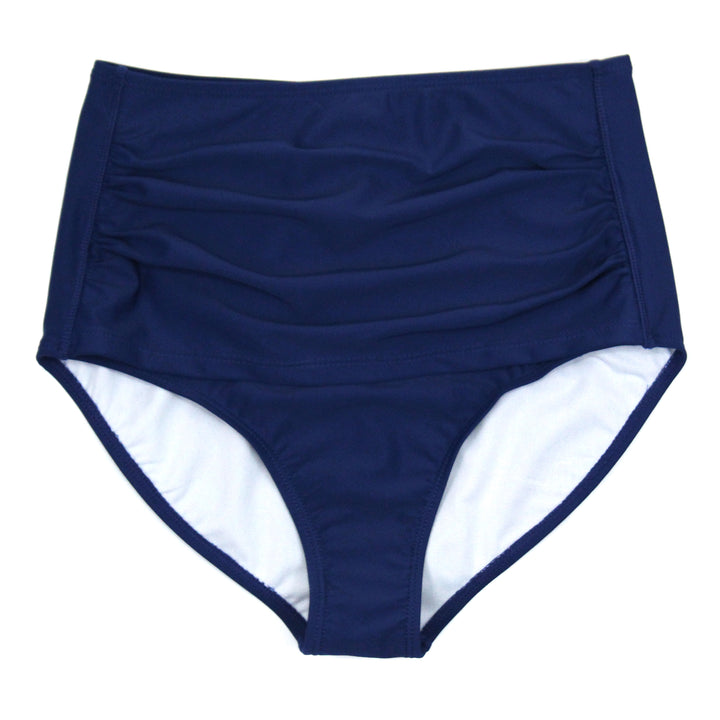 Women's High Waist Bikini Bottoms - Navy - SwimZip Sun Protection Swimwear
