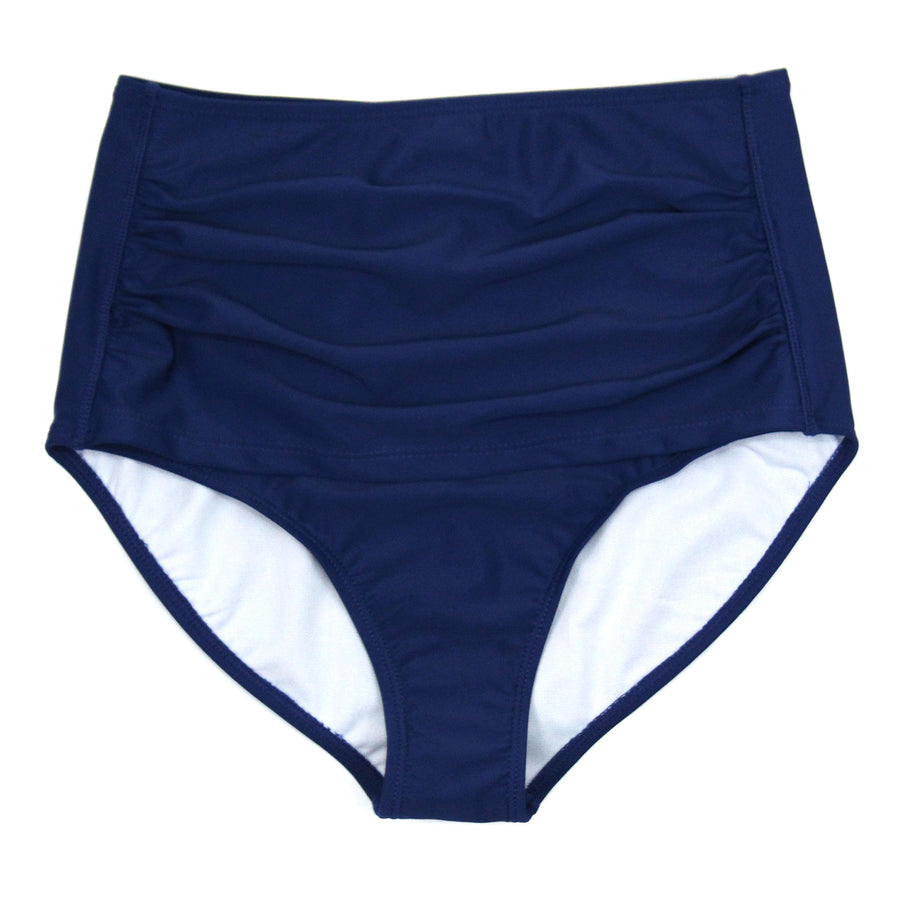 Women's High Waist Bikini Bottoms - Navy-XS-Navy-SwimZip UPF 50+ Sun Protective Swimwear & UV Zipper Rash Guards-pos1