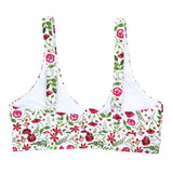 "Women's Front Tie Bikini Top - ""Floral Garden""-SwimZip UPF 50+ Sun Protective Swimwear & UV Zipper Rash Guards-pos3"