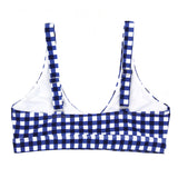 "Women's Front Tie Bikini Top - ""Navy Gingham""-SwimZip UPF 50+ Sun Protective Swimwear & UV Zipper Rash Guards-pos3"