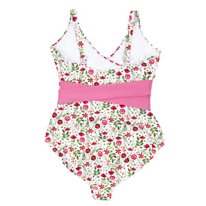 "Women's Wrap One Piece Swimsuit - ""Floral Garden""-SwimZip UPF 50+ Sun Protective Swimwear & UV Zipper Rash Guards-pos4"