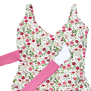"Women's Wrap One Piece Swimsuit - ""Floral Garden""-SwimZip UPF 50+ Sun Protective Swimwear & UV Zipper Rash Guards-pos3"
