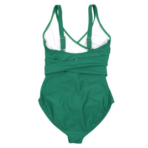 "Women's Wrap One Piece Swimsuit - ""Greenlake""-SwimZip UPF 50+ Sun Protective Swimwear & UV Zipper Rash Guards-pos4"