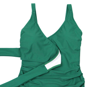 "Women's Wrap One Piece Swimsuit - ""Greenlake""-SwimZip UPF 50+ Sun Protective Swimwear & UV Zipper Rash Guards-pos3"