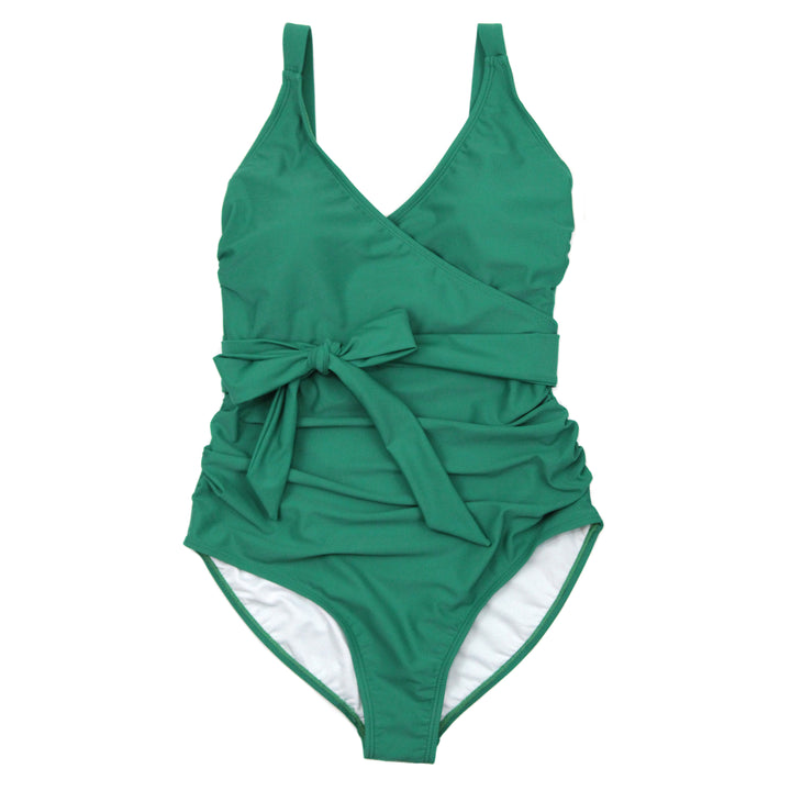 "Women's Wrap One Piece Swimsuit - ""Greenlake"" - SwimZip Sun Protection Swimwear"