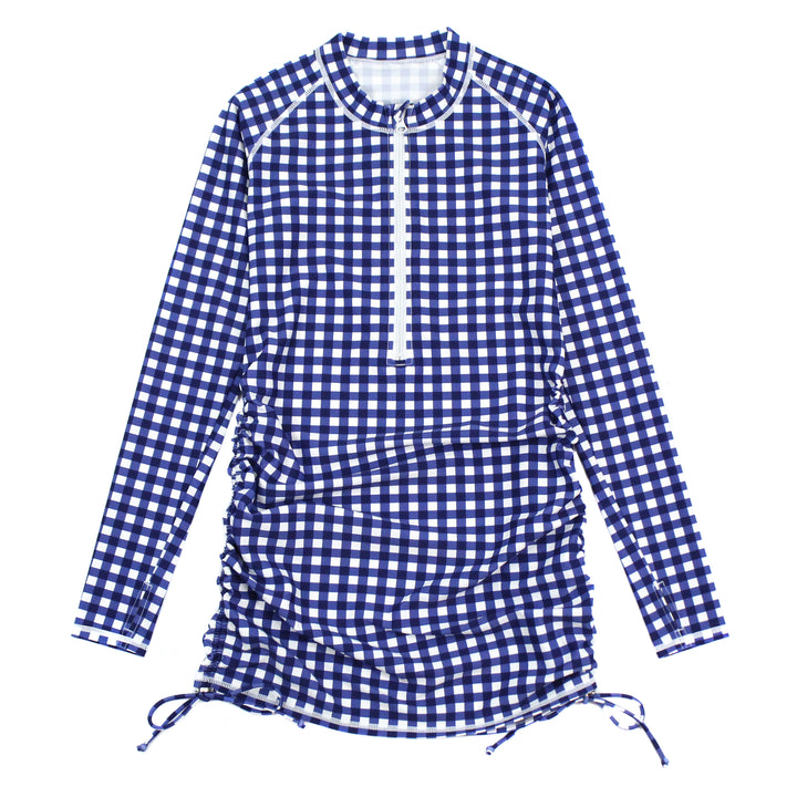 "Women's Half Zip Swim Dress Cover Up - ""Navy Gingham"" - SwimZip Sun Protection Swimwear"