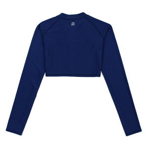 Women's Crop Long Sleeve Rash Guard - Navy - SwimZip Sun Protection Swimwear