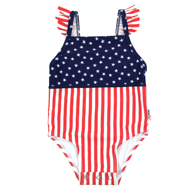 "Girl's Ruffle Strap One Piece Swimsuit - ""Stars and Stripes""-6-12 Month-Stars and Stripes-SwimZip UPF 50+ Sun Protective Swimwear & UV Zipper Rash Guards-pos1"