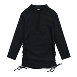 Girl's Long Sleeve Swim Dress Cover Up - Black-2T-Black-SwimZip UPF 50+ Sun Protective Swimwear & UV Zipper Rash Guards-pos1
