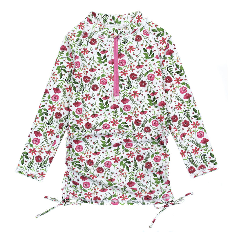 Girl's Long Sleeve Swim Dress Cover Up - Multiple Colors-2T-Floral Garden-SwimZip UPF 50+ Sun Protective Swimwear & UV Zipper Rash Guards-pos1