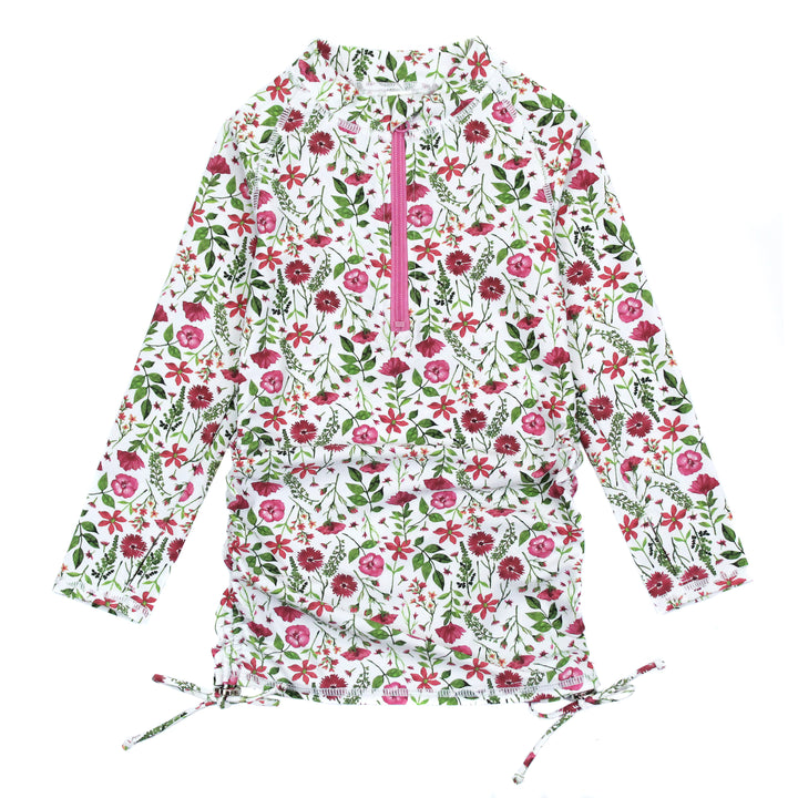 "Girl's Long Sleeve Swim Dress Cover Up - ""Floral Garden"" - SwimZip Sun Protection Swimwear"