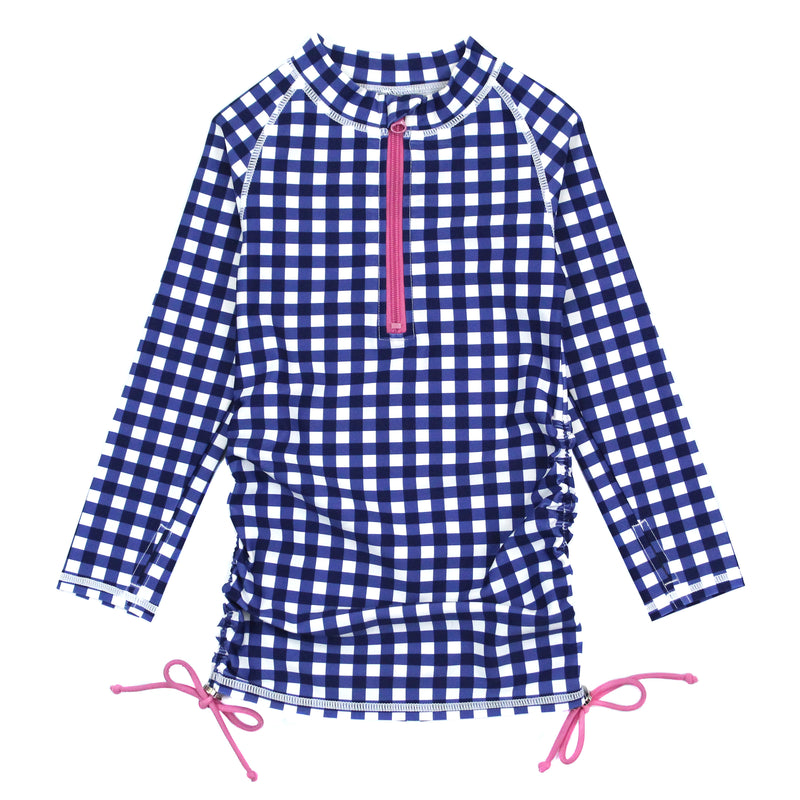 Girl's Long Sleeve Swim Dress Cover Up - Multiple Colors-2T-Navy Gingham-SwimZip UPF 50+ Sun Protective Swimwear & UV Zipper Rash Guards-pos9