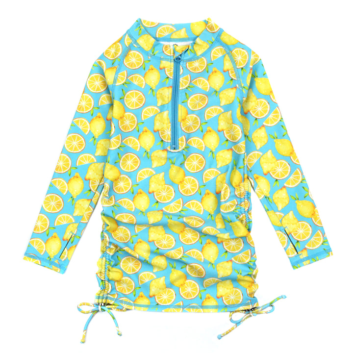 "Girl's Long Sleeve Swim Dress Cover Up - ""Lemons"" - SwimZip Sun Protection Swimwear"