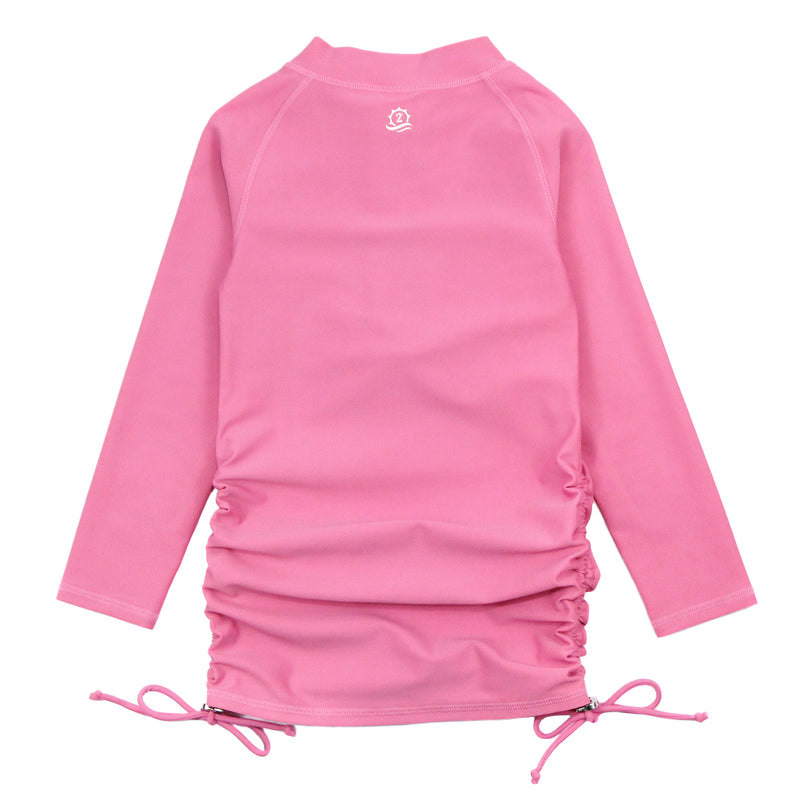 Girl's Long Sleeve Swim Dress Cover Up - Rose-SwimZip UPF 50+ Sun Protective Swimwear & UV Zipper Rash Guards-pos3