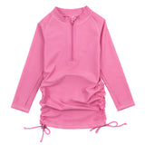 Girl's Long Sleeve Swim Dress Cover Up - Rose-2T-Rose-SwimZip UPF 50+ Sun Protective Swimwear & UV Zipper Rash Guards-pos1
