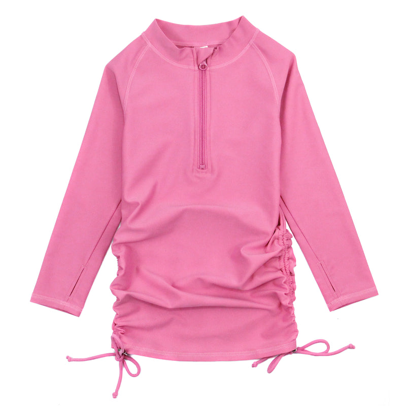 Girl's Long Sleeve Swim Dress Cover Up - Multiple Colors-2T-Rose-SwimZip UPF 50+ Sun Protective Swimwear & UV Zipper Rash Guards-pos11