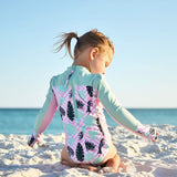 Girl's Long Sleeve Surf Suit (1 Piece) - Multiple Colors-SwimZip UPF 50+ Sun Protective Swimwear & UV Zipper Rash Guards-pos18