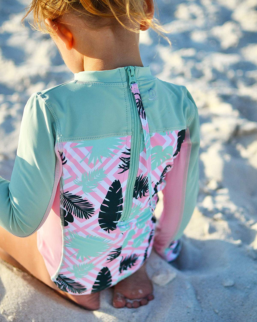 "Surf Suit - Girl Long Sleeve Body Suit (1 Piece) - ""Palm Breeze"" - SwimZip Sun Protection Swimwear"