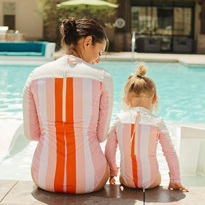 "Girl's Long Sleeve Surf Suit (1 Piece) - ""Peachy Stripes"" - SwimZip Sun Protection Swimwear"