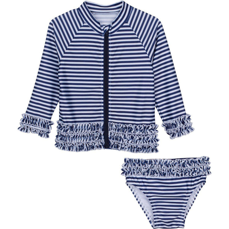 "Little Girl Long Sleeve Girl Rash Guard Swimsuit Set (2 Piece) - ""Sail Away"" Stunner-12-18 Month-Navy Stripe-SwimZip UPF 50+ Sun Protective Swimwear & UV Zipper Rash Guards-pos1"