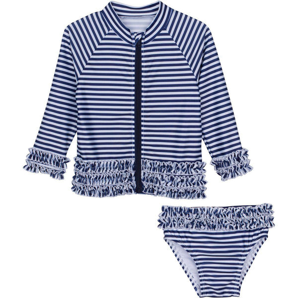 "Little Girl Long Sleeve Girl Rash Guard Swimsuit Set (2 Piece) - ""Sail Away"" Stunner"
