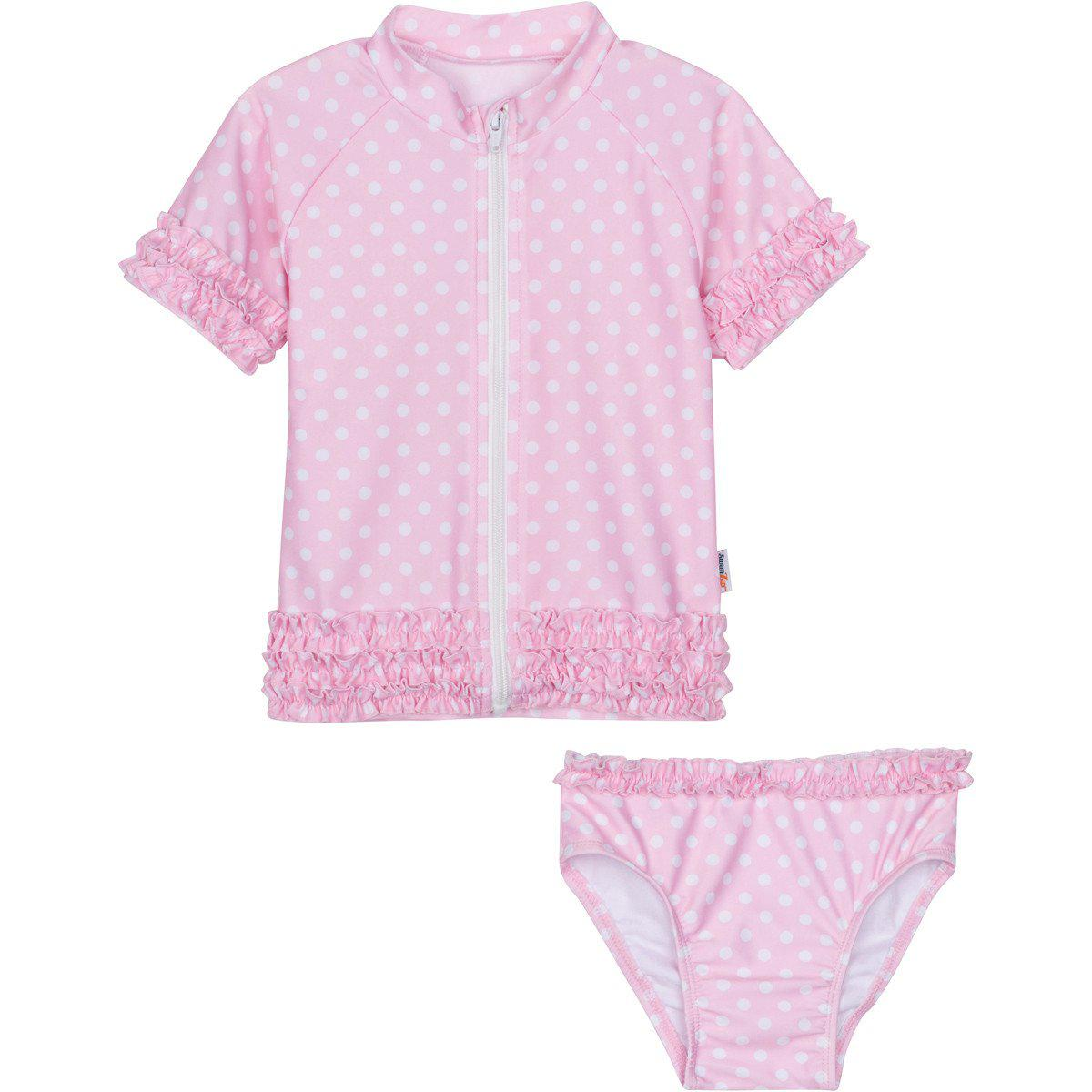 little girl pink polka dot ruffle swimsuit set zipper rash guard top by swimzip