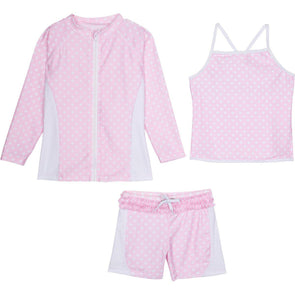 girls' rash guard swimsuit set with shorts pink polka dot ruffle swimzip